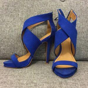 Electric Blue Faux-Sued Heels Sandals